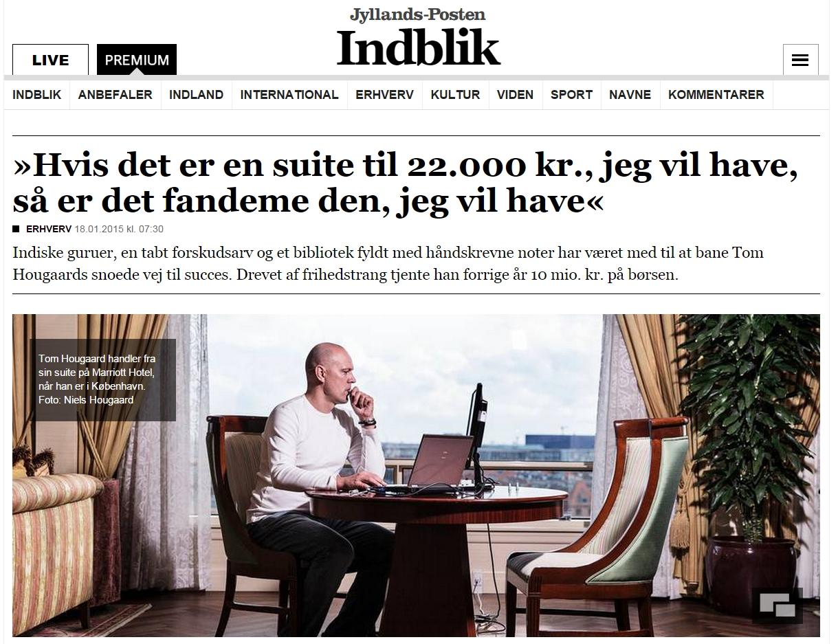 Daytraderen Tom Hougaard er kendt for sin effektive handel med CFD'er. Her optræder han i et interview i Jyllands-Posten i 2015. Daytrading.dk tilbyder samme handelsplatform som den Tom Hougaard bruger.